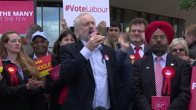 Exterior shots of Labour leader Jeremy Corbyn addressing supporters at a campaign rally in Telford encouraging campaigners to engage with voters and...