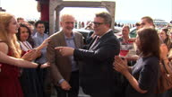 Exterior shots of Labour leader Jeremy Corbyn arriving for the Labour Party conference in Brighton and being greeted by Deputy Leader Tom Watson and...