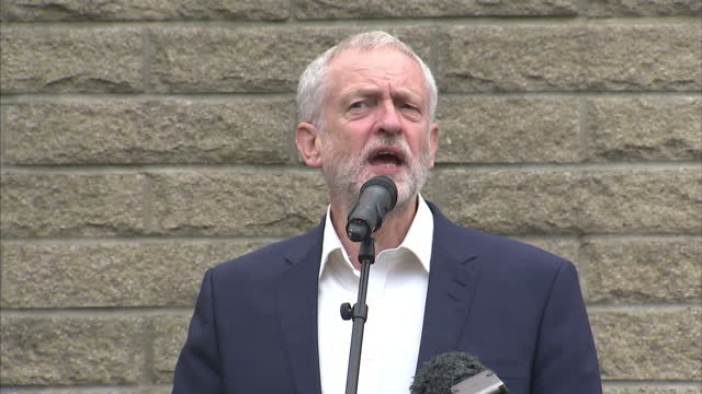 Exterior shots of Labour leader Jeremy Corbyn MP speaking at a campaign event in Sunderland on August 12 2016 in Sunderland England
