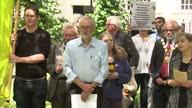 Exterior shots of Labour leadership hopeful Jeremy Corbyn MP stood listening to a speech by a Campaign for Nuclear Disarmament campaigner on June 06...