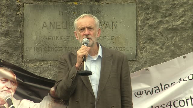 Exterior shots of Labour leadership hopeful Jeremy Corbyn speaking to crowds at the spot in Tredegar where Nye Bevan spoke to his constituents on...