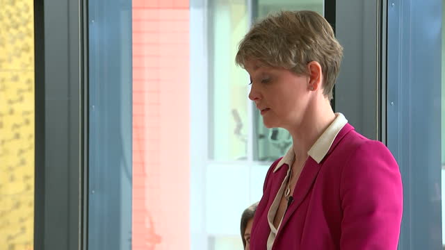 Exterior shots of Labour leadership hopeful Yvette Cooper walking to a podium and giving a speech in Manchester on August 14 2015 in Manchester...