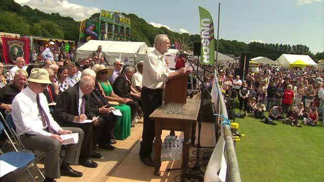 Exterior shots of Labour MP Jeremy Corbyn arriving and addressing an audience at the Durham Miners Rally on July 11 2015 in Durham England