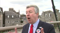 Exterior shots of Labour MSP Lewis MacDonald about campaigning for the Better Together campaign speaking to voters on April 12 2014 in Edinburgh...
