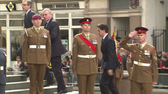 Exterior shots of Labour Party leader Ed Miliband arriving at St Paul's Cathedral to attend a memorial service to honour the service of members of...