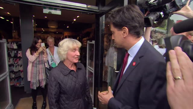 Exterior shots of Labour Party Leader Ed Miliband campaigning in Edinburgh for the No Vote in the Scottish Referendum meeting and greeting people on...