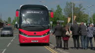 Exterior shots of Labour Party Leader Jeremy Corbyn MP on General Election campaign bus arriving in Salford for a rally 9th May 2017 Salford England