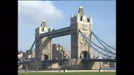 Exterior shots of landmarks in the capital including London Bridge Tower of London Victoria Memorial outside Buckingham Palace on Pall Mall the...