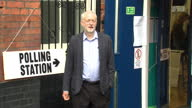 Exterior shots of leader of the Labour party Jeremy Corbyn of the 'vote remain' campaign arriving at a polling station to cast his vote on the UK EU...