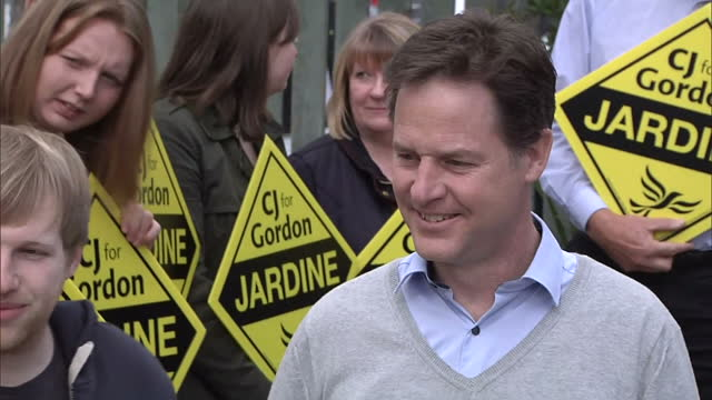 Exterior shots of Lib Dem leader Nick Clegg greeting supporters in West Aberdeenshire on April 17 2015 in Aberdeen Scotland