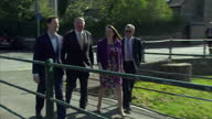 Exterior shots of Lib Dem leader Nick Clegg walking with Roger Williams Liberal Democrat candidate for Brecon and Radnorshire whilst campaigning in...