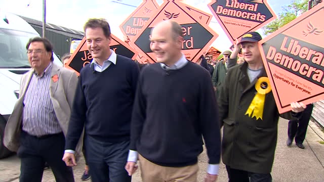 Exterior shots of Liberal Democrat leader Nick Clegg and local candidate for Maidstone and the Weald Jasper Gerard arriving at the Hush Heath Winery...