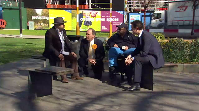 Exterior shots of Liberal Democrat Leader Nick Clegg Campaigning in Southwark with local candidate Simon Hughes on April 14 2015 in London England