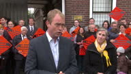 Exterior shots of Liberal Democrat leader Tim Farron answering questions from journalists regarding antiSemitic comments made by the Lib Dem...