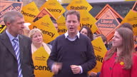Exterior shots of Liberal Democrats leader Nick Clegg addressing Lib Dem supporters a day ahead of the general elections on May 6 2015 in Glasgow...