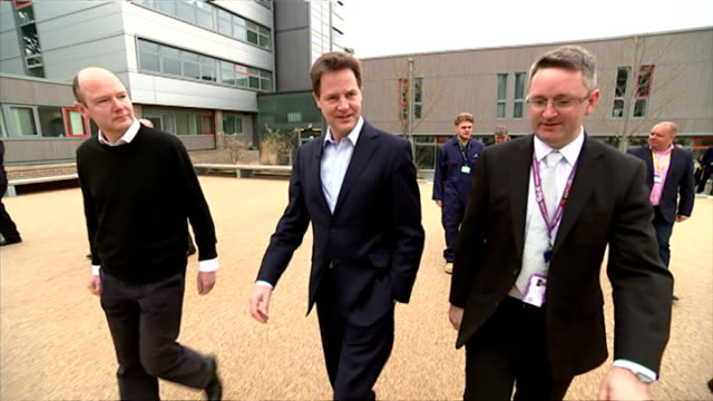Exterior shots of Liberal Democrats Leader Nick Clegg speaking to students and staff at MidKent College on April 13 2015 in Maidstone England