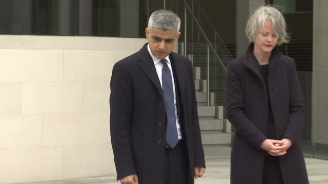 Exterior shots of London Mayor laying flowers at New Scotland Yard after Wednesday's terror attacks on 24 March 2017 in London United Kingdom