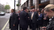 Exterior shots of Lord Mandelson arriving at Labour HQ in the wake of Gordon Brown's resignation on May 11 2010 in London England