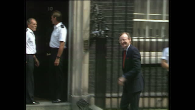 Exterior shots of Lord Young George Younger Norman Fowler Cecil Parkinson John Major Peter Brook Kenneth Baker walk past Number 10 together Malcolm...