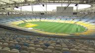 Exterior shots of Maracana Stadium being prepared for the Olympics 2016 Brazil Stock Shots at Maracana Stadium on July 28 2013 in Rio de Janeiro...