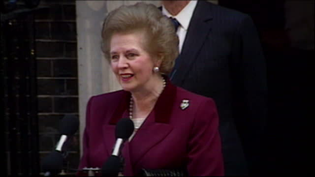 Exterior shots of Margaret Thatcher making her speech outside Number 10 Downing Street on her resignation as Prime Minister Margaret Thatcher...