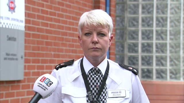 Exterior shots of Mary Doyle Chief Superintendent Territorial Commander for Salford Trafford giving a press statement and appealing for information...