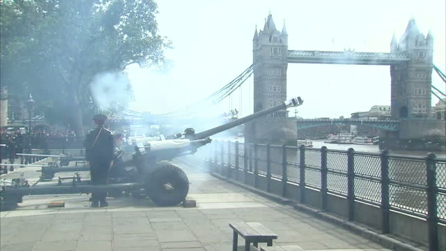 Exterior shots of members of the Honourable Artillery Company firing a 62 gun salute at the Tower of London in honour of the Duke of Edinburgh's 95th...