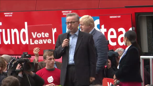 Exterior shots of Michael Gove speaking from a podium next to the 'Vote Leave' battlebus with Boris Johnson stood to one side on June 01 2016 in...