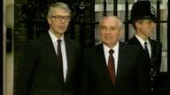 Exterior shots of Mikhail Gorbachev being greeted by Prime Minister John Major before walking through door of Number 10 Downing Street on July 16...