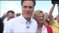 Exterior shots of Mitt Romney campaigning at a rally with his wife Ann and serving chilli to supporters Mitt Romney makes a speech on stage on on...