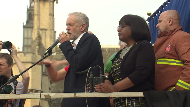 Exterior shots of Momentum supporters and the newly appointed Shadow Health Secretary Diane Abbott listening as Jeremy Corbyn addresses a rally...