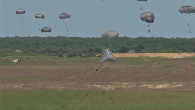 Exterior shots of NATO troops parachuting from a C17 transporter plane during the Anakonda 16 joint military exercise>> on June 08 2016 in Drawsko...