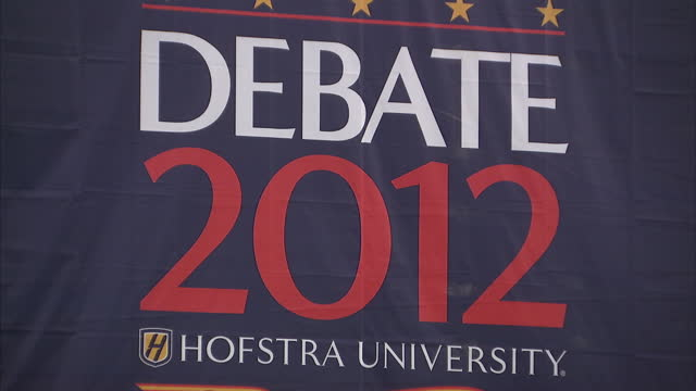 Exterior shots of New York's Hofstra University with 'Debate 2012' banners and preparations being made ahead of the second presidential debate...