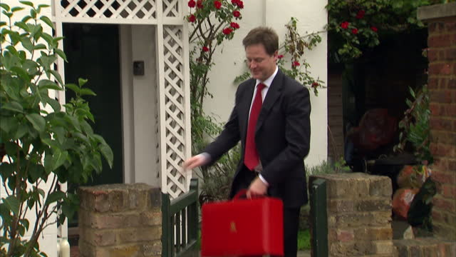 Exterior shots of Nick Clegg departing his home in Putney Nick Clegg Departing Home in Putney on July 10 2012 in London England