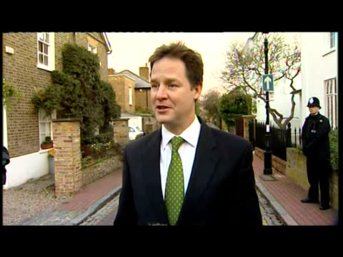 Exterior shots of Nick Clegg Deputy Prime Minister Liberal Democrat Leader arguing that the rise in student tuition fees is a fair policy ahead of a...