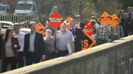 Exterior shots of Nick Clegg Liberal Democrats Leader campaigning in the constituency of Montgomeryshire on April 07 2015 in Newtown Wales
