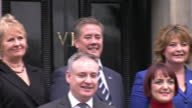 Exterior shots of Nicola Sturgeon Scottish First Minister posing on the steps of Bute House with members of the Scottish Cabinet including Richard...