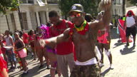 Exterior shots of Notting Hill Carnival and revellers taking part in parade on 28th August 2017 London England