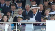 Exterior shots of official royal visit Prince Charles Prince of Wales Camilla Duchess of Cornwall attend ceremony for naming of the HMS Prince of...