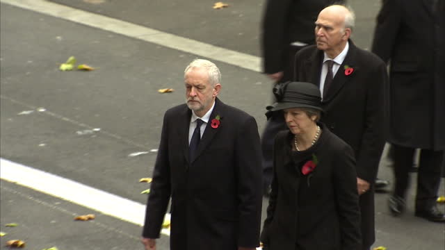 Exterior shots of officials and politicians departing after attending Remembrance Sunday commemorations at the Cenotaph including Prime Minister...