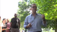 Exterior shots of Owen Smith MP Labour leadership candidate speaking to a group of young Labour supporters in London Fields Essex on August 07 2016...