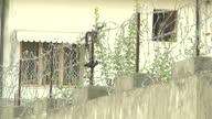Exterior shots of Pakistani police patrolling the hideout villa grounds of AlQaeda leader Osama Bin Laden in Abbottabad on in Abbottabad Pakistan