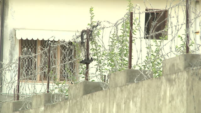 Exterior shots of Pakistani police patrolling the hideout villa grounds of AlQaeda leader Osama Bin Laden in Abbottabad on in Abbottabad Pakistan