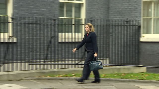 Exterior shots of Penny Mordaunt newly appointed International Development Secretary arriving and then departing from Number 10 Downing Street>> on...