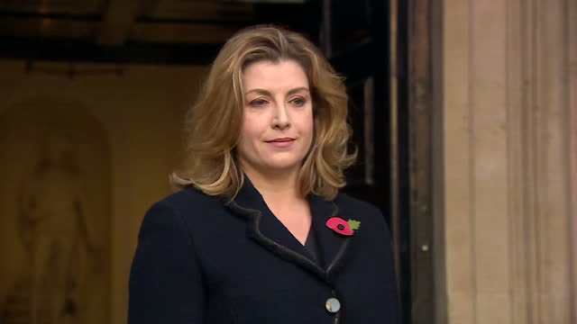 Exterior shots of Penny Mordaunt newly appointed International Development Secretary arriving at the Department for International Development and...
