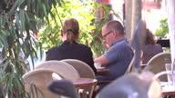 Exterior shots of people sat outside cafe in Tel Aviv eating and drinking Cafe culture in Tel Aviv on September 11 2013 in Tel Aviv Israel