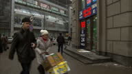 Exterior shots of people walking in the streets of Moscow wearing winter clothing and neon signs showing the Rouble value crashing on December 16...