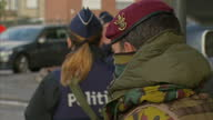 Exterior shots of police and soldiers manning a checkpoint outside Zaventem Airport>> on March 29 2016 in Brussels Belgium