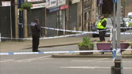 Exterior shots of police atscene where Jo Cox MP was killed yesterday Filmed on June 17 2016 in Birstall England