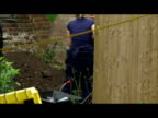 Exterior shots of police forensic officers digging and searching the former garden of serial killer as they look for evidence of further murders...